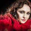 Vampire woman with red dress - Stock Photo