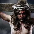 Jesus Christ with crown of thorns white on the cross of Calvary — Stock Photo #24048929