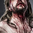 Stock Photo: Jesus Christ with crown of thorns white on the cross, Easter in