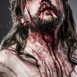 Jesus Christ with crown of thorns white on the cross, Easter in - Stock Photo