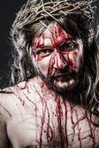 Jesus Christ with crown of thorns, representation of Calvary — Stock Photo