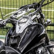 Motorbike&#039;s chromed engine. Bikes in a street - Stockfoto