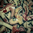 Colorful graffiti, abstract grunge grafiti background over textu - Stock Photo