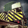 Front detail of old locomotive on background of storm clouds - Stock Photo