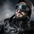Aviator with glasses and vintage hat with proud expression — Stock Photo