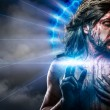 Stock Photo: Calvary jesus, mbleeding, representation of passion with blue