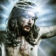 Calvary jesus, man bleeding, representation of passion with blue — Stock Photo #24640901