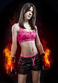 Boxing woman, pretty young boxing standing and defending by han — Stock Photo