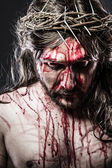 Calvary jesus, man bleeding, representation of passion — Stock Photo