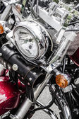 Closeup of a big chromium motorcycle engine, shiny chrome plated — Stock Photo