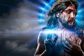 Calvaire l'homme jésus, saignements, représentation de la passion et le fil bleu — Photo