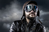 Pilot with glasses and vintage hat with proud expression — Stock Photo