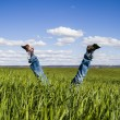 Concept of freedom and joy, man with jeans lying in wheat field — Foto Stock