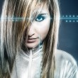 Communications concept, young blonde with silver latex jumpsuit  — Stock Photo