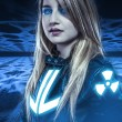 Dangerous, Girl with blue eyes, fantasy scene, future warrior — Stock Photo