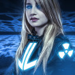 Stock Photo: Dangerous, Girl with blue eyes, fantasy scene, future warrior