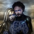 Stock Photo: Lovers, couple of super heroes of the future, desert landscape