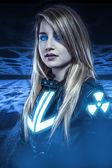 Dangerous, Girl with blue eyes, fantasy scene, future warrior — Stock Photo