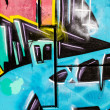 Stock Photo: Blue signs, colorful graffiti, abstract grunge graffiti background