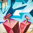 Colorful graffiti, abstract grunge graffiti background — Stockfoto
