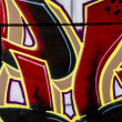Red and golden urban art, colorful graffiti, abstract grunge graffity background — Stock Photo