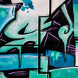 Stock Photo: Blue signs, colorful graffiti, abstract grunge grafiti background