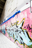 Corridor, colorful graffiti, abstract grunge graffiti background — Stock Photo