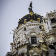 Stock Photo: Metropolis building, Architecture along Gran Via in Madrid