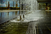 Water jets, office building source, detail — Stock Photo