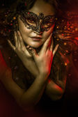 Fantasy art, woman with venetian mask, cabaret — Stock Photo