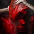 Toxic horror concept, man with red gas mask. — Fotografia Stock  #28618147