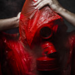 Toxic horror concept, man with red gas mask. — 图库照片 #28618147