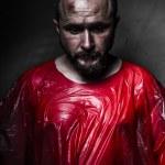 Sad concept, man with red plastic — Stock Photo
