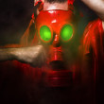 有毒的恐怖的概念,红色气体面具的男人 — 图库照片