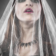 Attractive woman looking at camera, wearing a white veil — Stock Photo #28618477