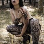 Sexy, woman in dark forest, fantasy concept, dark concept — Stock Photo