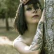 Stock Photo: Sexy, woman in dark forest, fantasy concept, dark concept