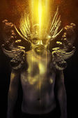Victory, warrior or ancient god with golden mask and sword great — Stock Photo