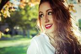 Beauty Romantic Girl Outdoor. — Stock Photo