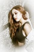 Güzellik romantik kız açık. — Stok fotoğraf