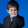 Success, Businessman surprised, cute little boy portrait over bl — Stock Photo