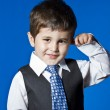 Tie, cute little boy portrait over blue chroma background — Stock Photo