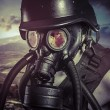 Apocalypse, nuclear disaster, man with gas mask, protection — Stock Photo