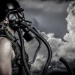 Stock Photo: Nuclear disaster, man with gas mask, protection