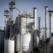 Stock Photo: Refinery, pipelines and towers, heavy industry overview