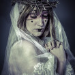 Salvation, woman dressed in white veil — Stock Photo