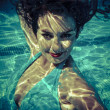 Stock Photo: Underwater, beauty concept, beautiful brunette woman