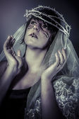 Faith concept, woman dressed in white veil and crown of thorns — Stock Photo