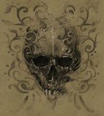 Tattoo skull over vintage paper, white tribals design — Stock Photo