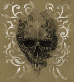 Tattoo skull over vintage paper, white tribals design — Stock Photo